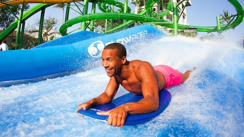 Man going down a waterslide