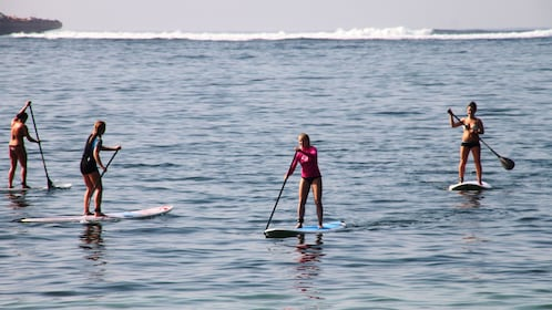 People on stand up paddle boards in Kuta