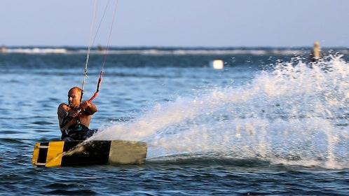 A man on a wake kite in Bali