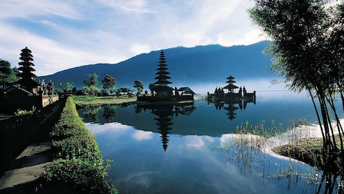 Waterway leading to an isolated shrine in Bali