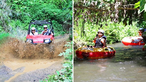 Combo image of Buggy driving and Tubing Excursion in Bali