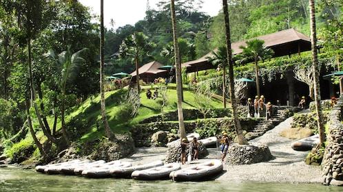 Water rafts docked on land in Bali