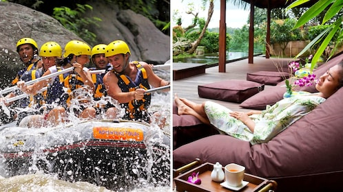 Combo image of whitewater rafting and spa in Bali