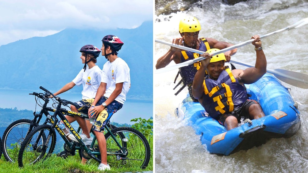 Show item 1 of 5. Combo image of mountain biking and whitewater rafting in Bali