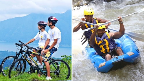 Combo image of mountain biking and whitewater rafting in Bali