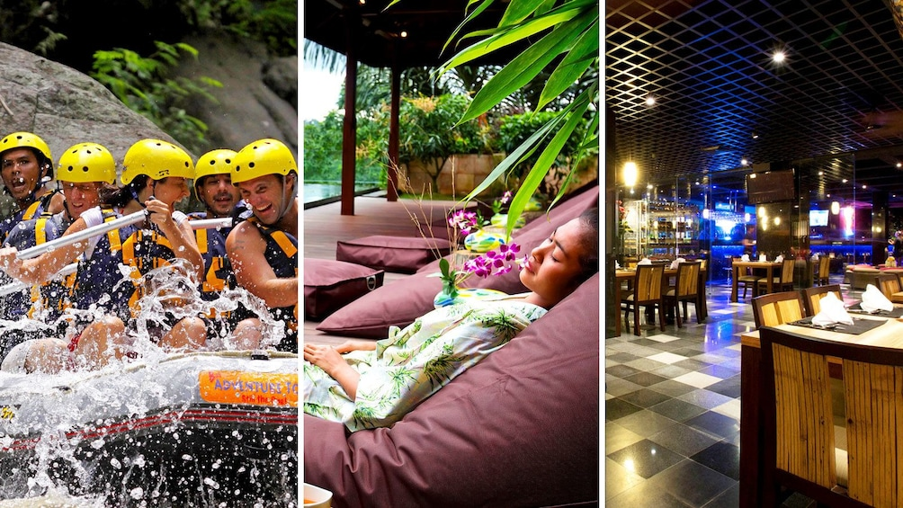 Foto 1 von 6 laden Combo image of whitewater rafting, spa and dinner for activity in Bali