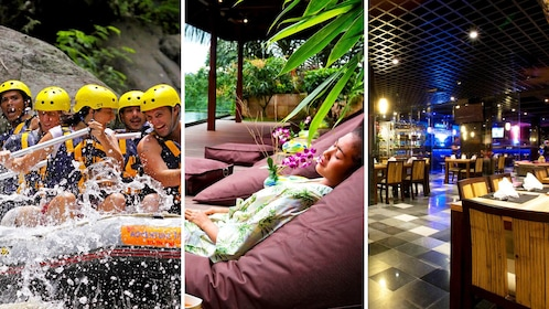 Combo image of whitewater rafting, spa and dinner for activity in Bali