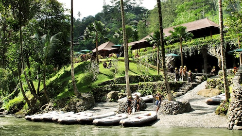 Rafts on the shore of a river in Bali