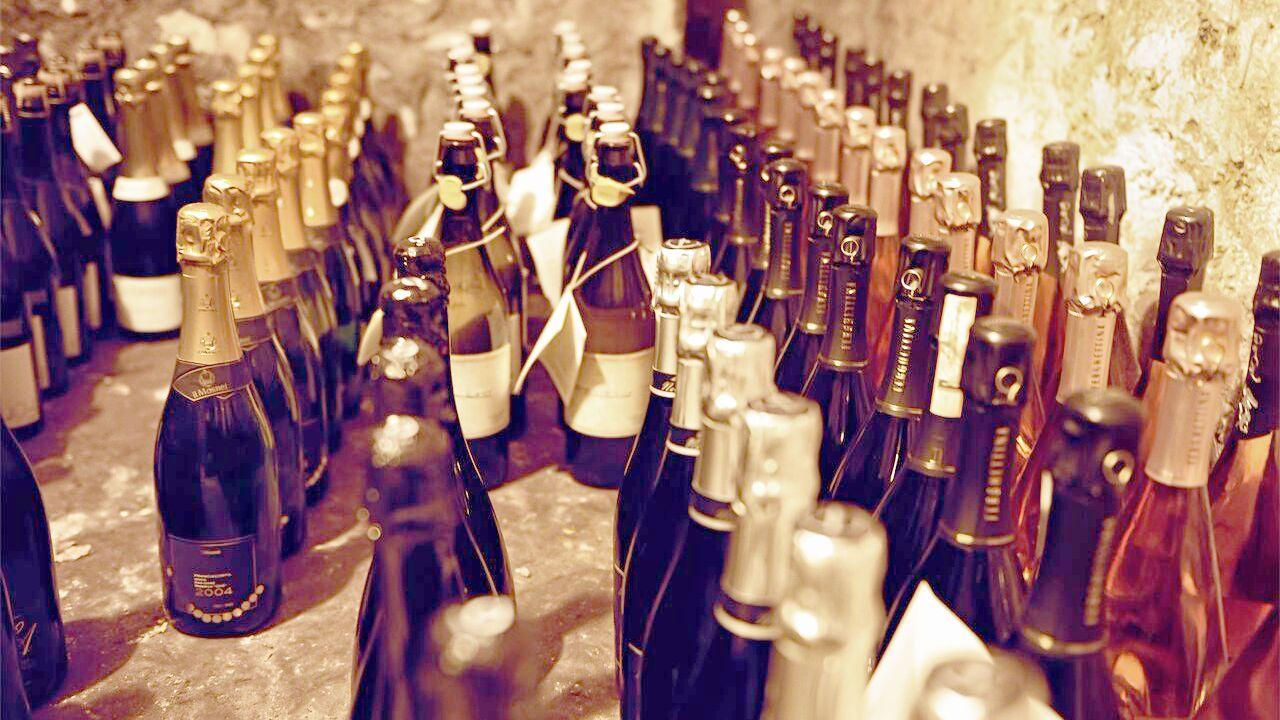 Bottles of sparkling wine in Rome