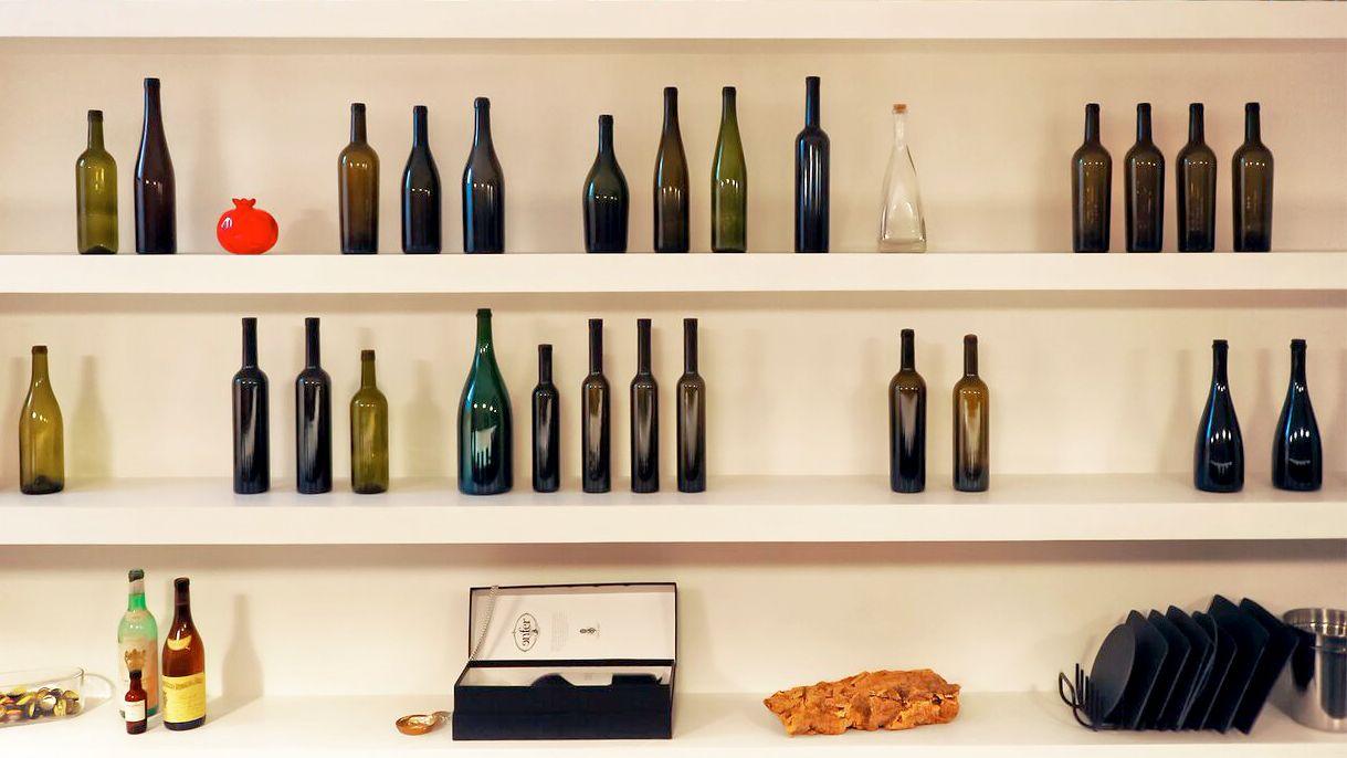 Wine bottles on a shelf in Rome