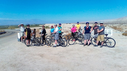 Bicycling group taking a break in Palm Springs