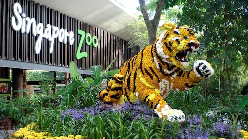Singapore Zoo entrance with large-scale Lion sculpture made of flowers in Singapore
