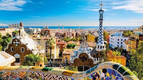 Barcelona skyline peering off into the coast