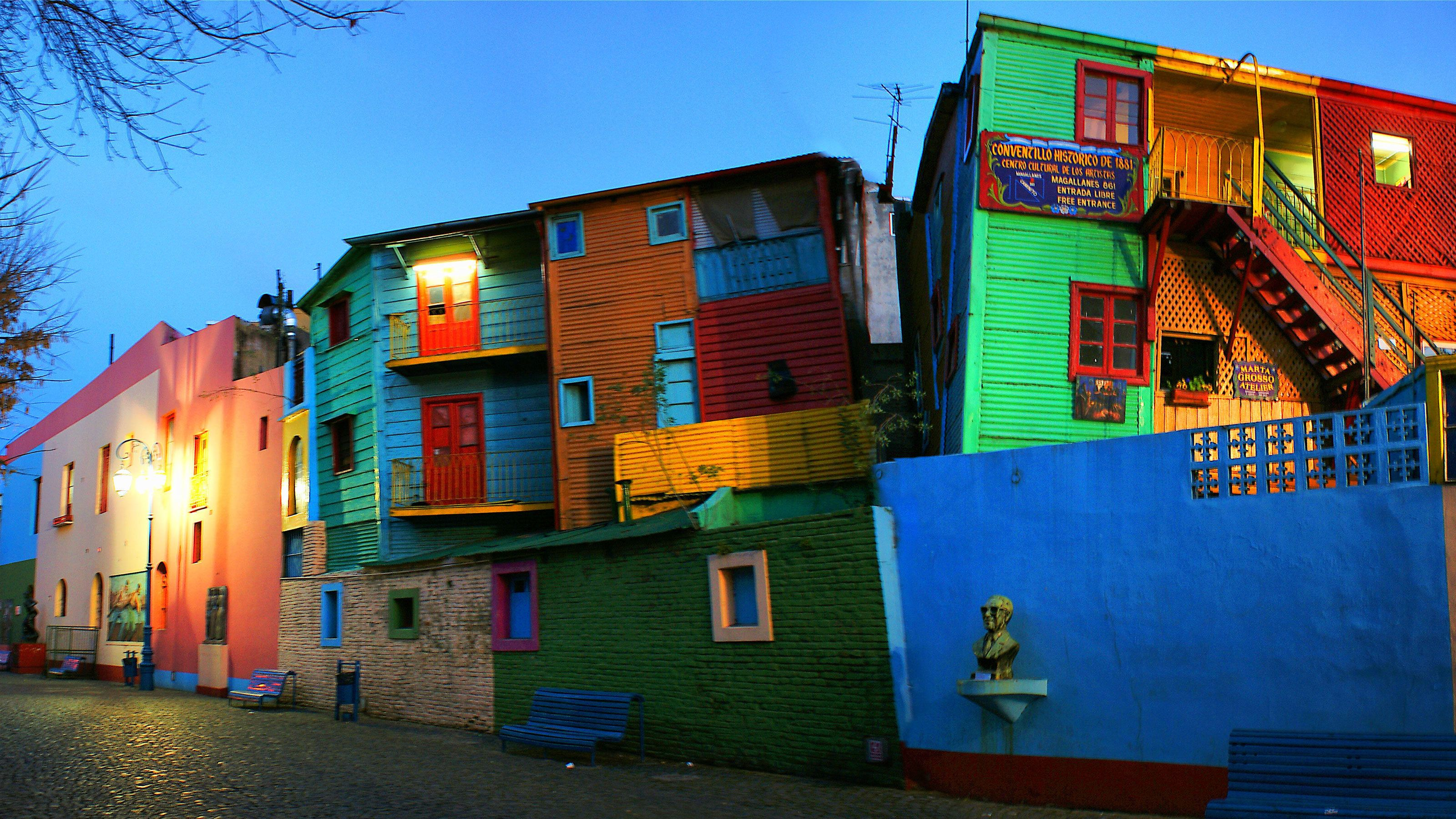 vibrant colored residential buildings in Argentina