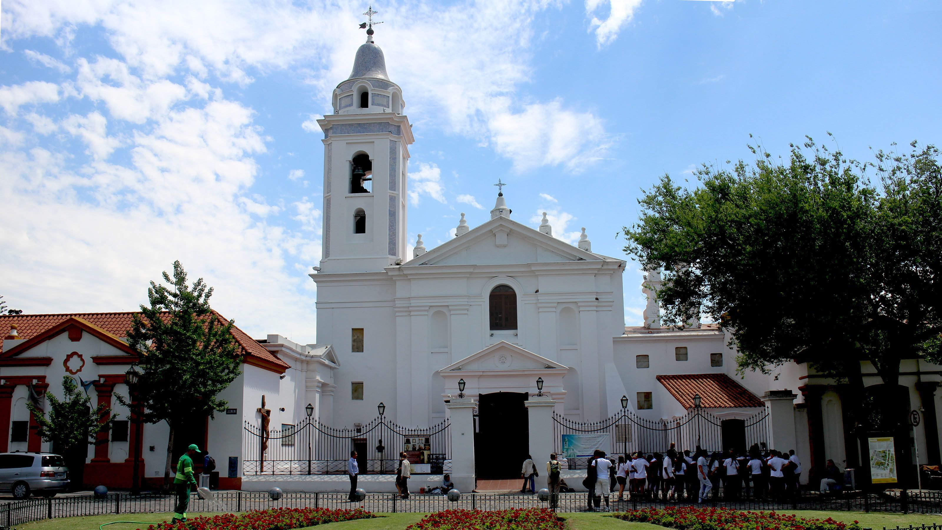 White church with bell tower in Buenos Aires