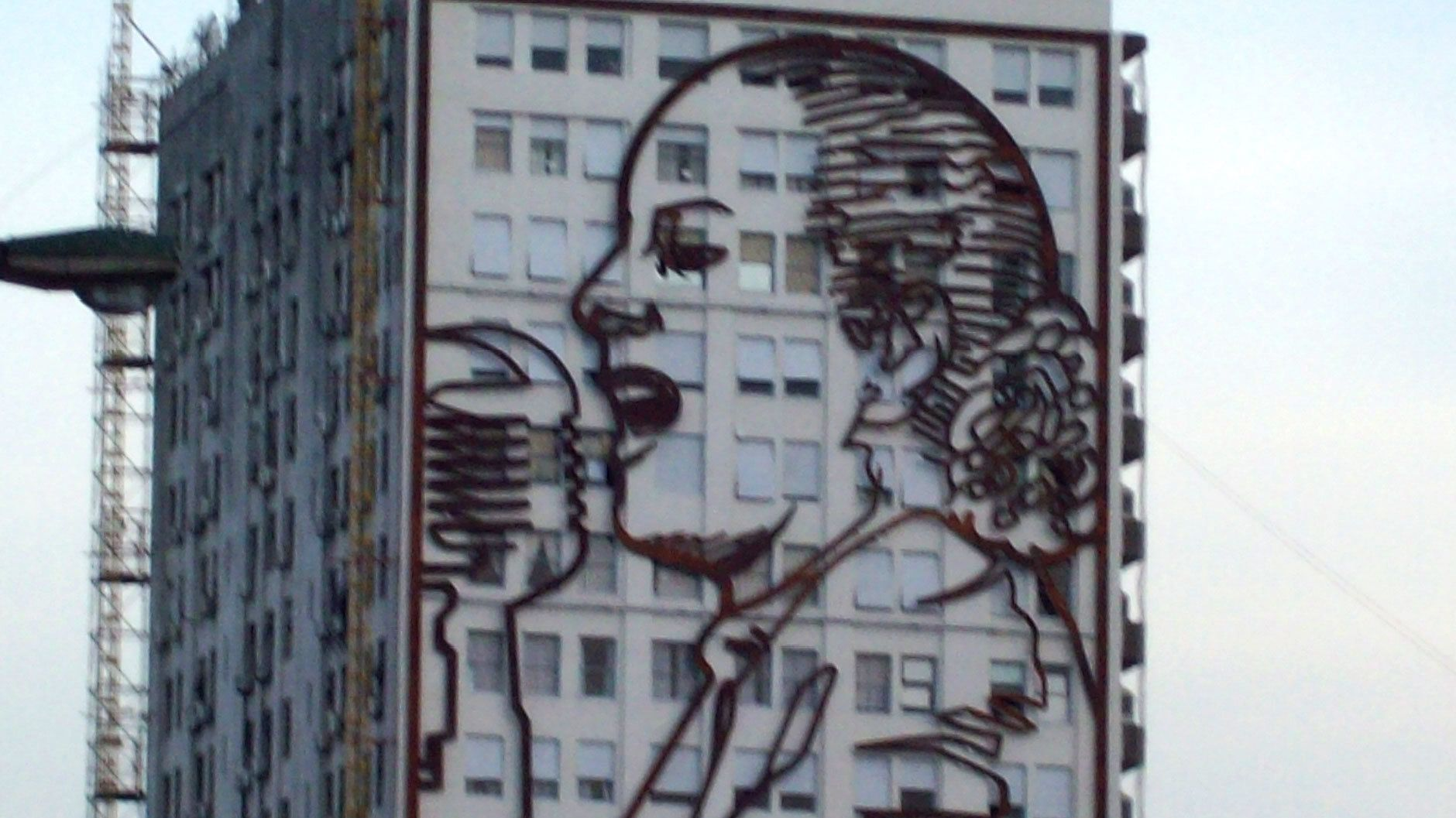 Evita illustration on the side of a building in Argentina