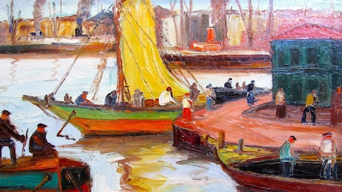 oil painting of boats a the docks in Argentina