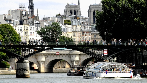Batobus passing under a bridge in Paris.