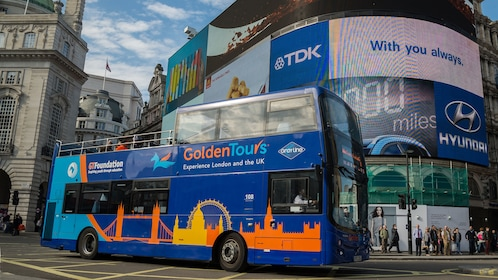 View of a double decker bus on the streets of London