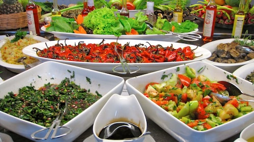 A variety of Turkish dishes served at the Turkish Flavors Cooking Class in Turkey