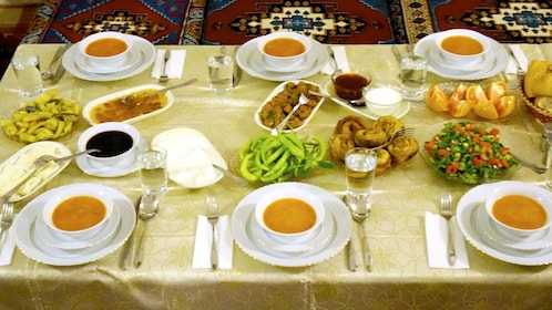 Table full of food at the Turkish Flavors Cooking Class in Turkey