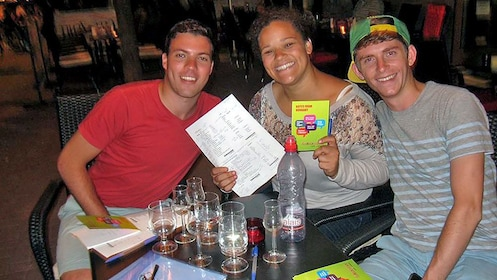 group learning Hungarian at a bar in Hungary