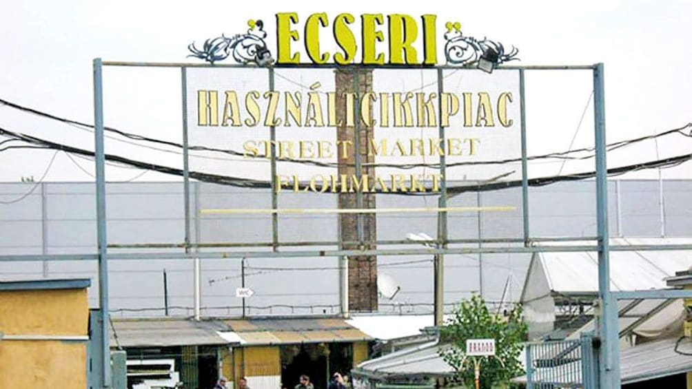 Show item 2 of 9. public sign to the Ecseri Flea Market in Budapest
