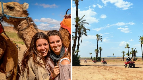 Combo image of camel ride and ATV ride in Marrakech