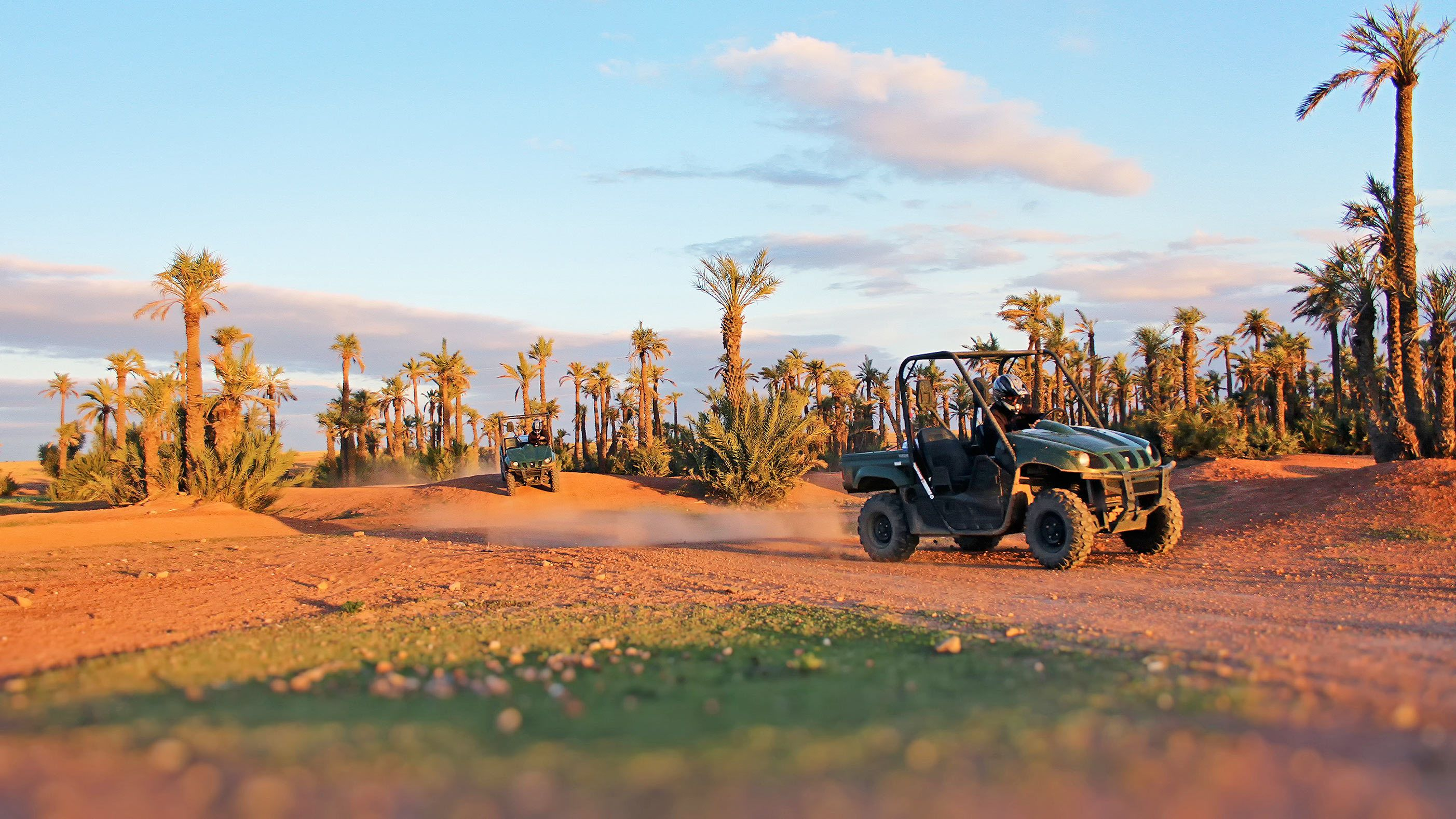Sunset view of the Desert Buggy Tour in Jbilets Mountains of Marrakech