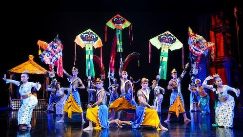 Devdan Show performers pose onstage in Bali