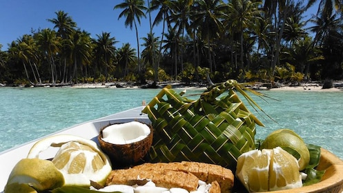 View of a plate of coconut fruit in Bora Bora