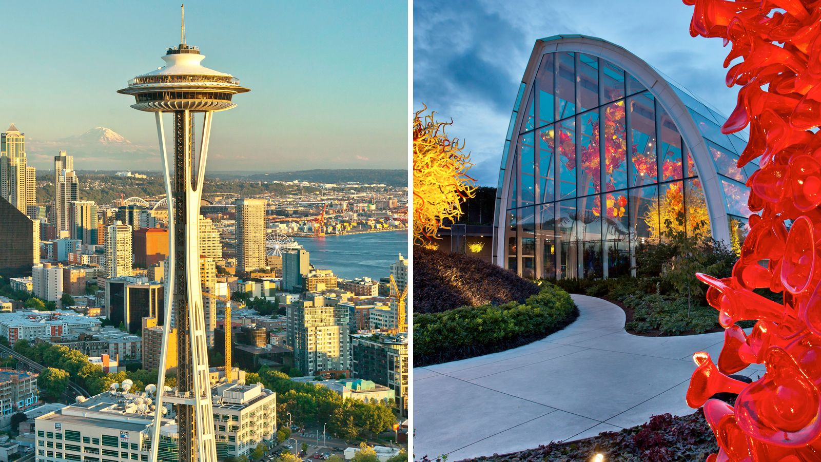 Combo image of the Space Needle and Chihuly Garden in Seattle