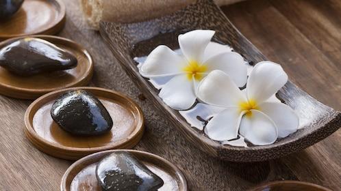 View of the spa stones for the Pañpuri Thai Organic Massages at the Pañpuri Organic Spa Penang