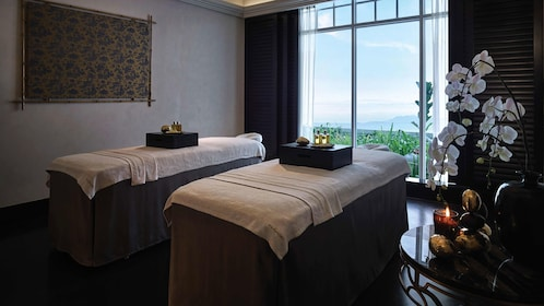 View from inside the spa room at Pañpuri Organic Spa Penang