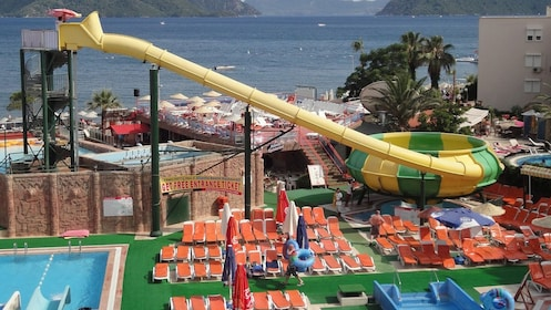 long yellow water slide