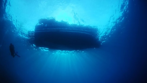 view of boat from below