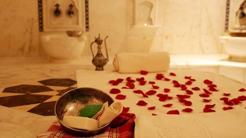rose petals laid out on towel