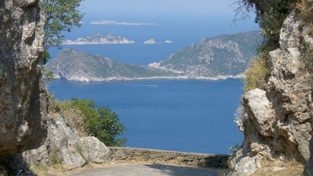 View of islands from a lookout on Corfu