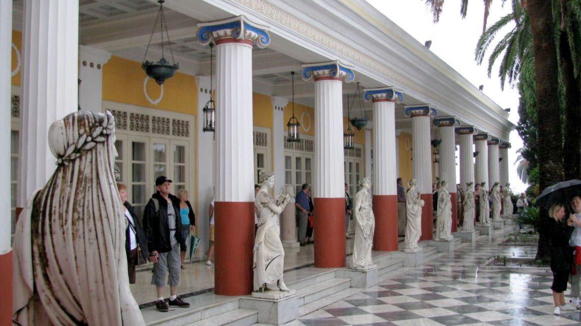 Pillars and marble floor of the Corfu Museum