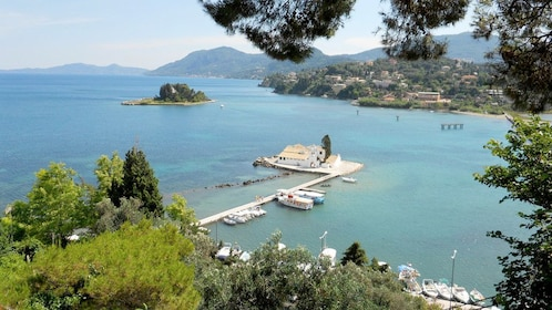 Vlacherna Monastery on the water with a small island nearby on Corfu