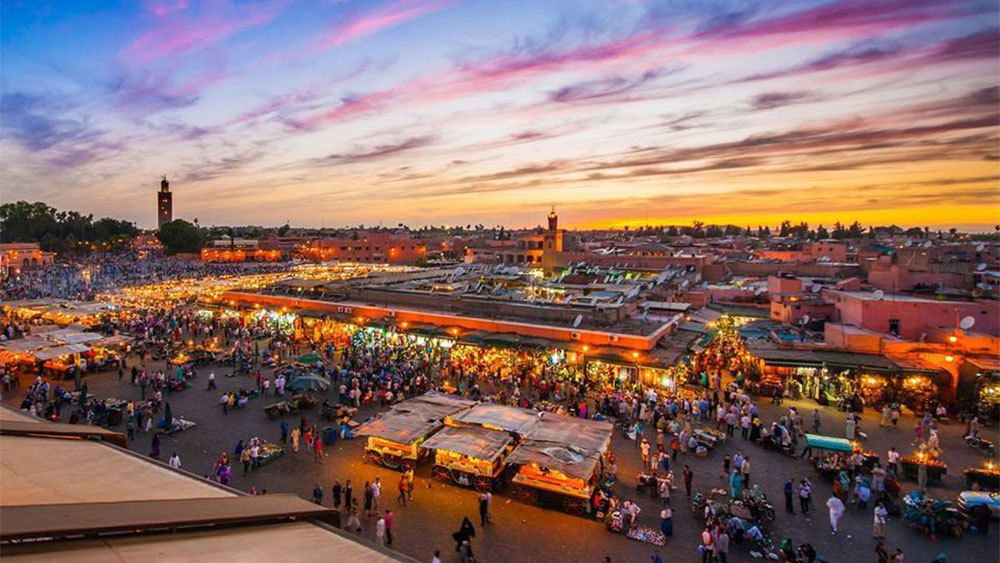 Bustling market at night in Marrakech