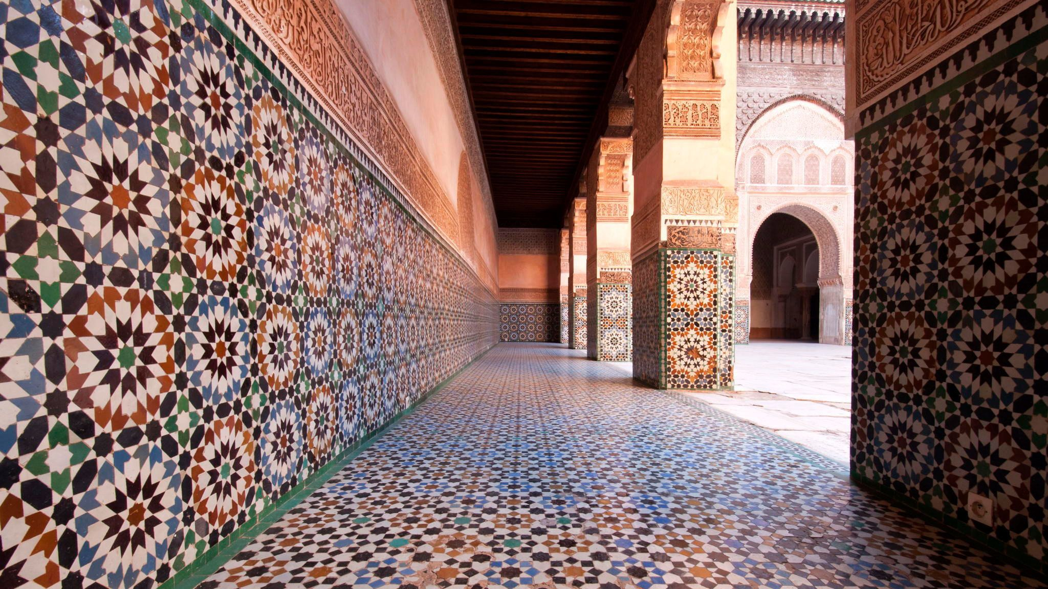 Mosaic cloisters near the courtyard at Bahia Palace in Marrakech