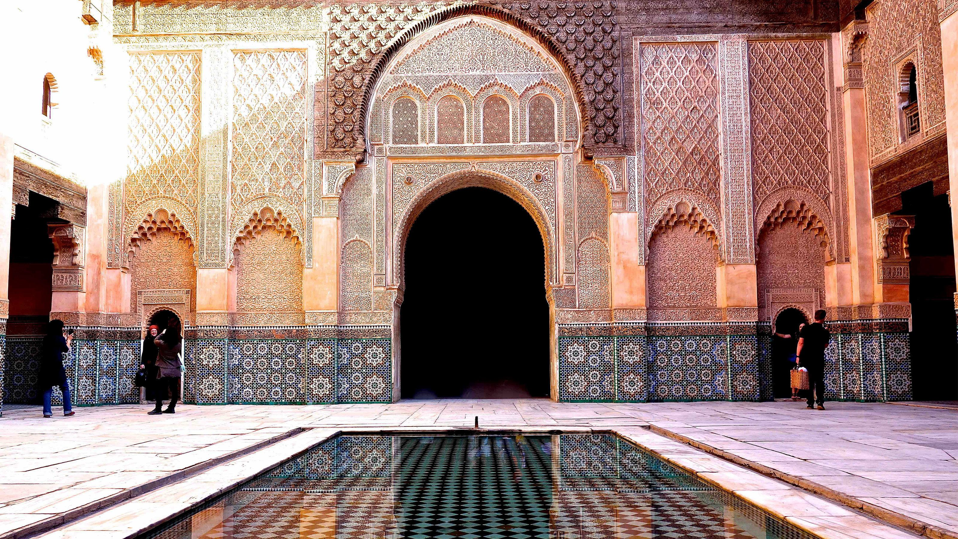 Bahia Palace mosaic courtyard and reflecting pool in Marrakech