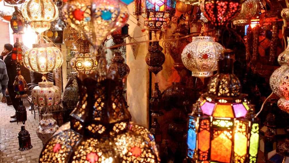 Show item 4 of 5. Lanterns for sale at a market in Marrakech