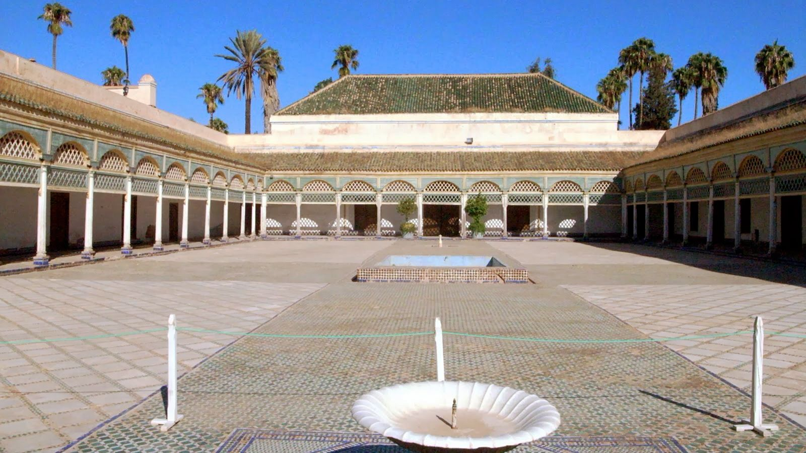 Bahia Palace courtyard and fountains in Marrakech