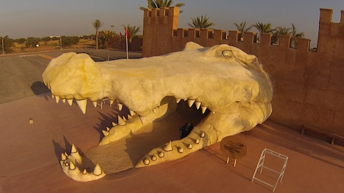 Giant crocodile head is gate to park in Agadir
