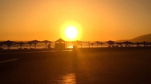 sunset over beach in agadir