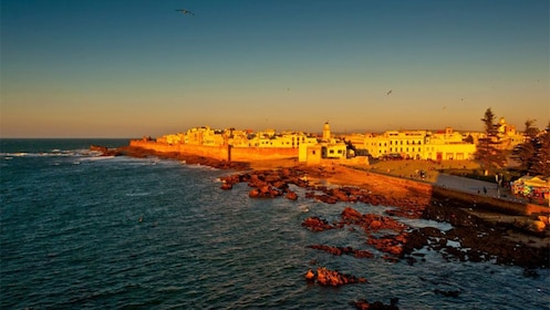 Coastline and city at dusk in Essaouira