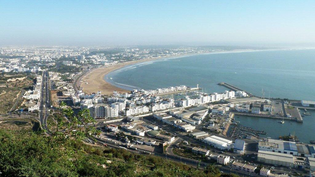 Panoramic view of the city and coastline in Agadir