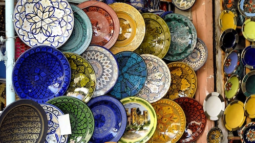 Colorful pottery for sale at a market in Agadir